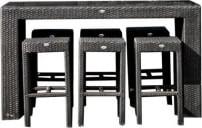 Zestaw barowy z 6 krzesłami z technorattanu Nicea