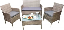 Zestaw szary do ogrodu z sofą, fotelami i stołem Nifte