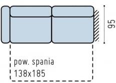 Sofa 3-osobowa lewa z wąskim bokiem i funkcją spania Bono