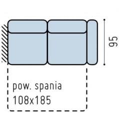 Sofa 2-osobowa lewa z wąskim bokiem i funkcją spania Bono
