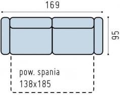 Sofa 3-osobowa z wąskimi bokami i funkcją spania Bono