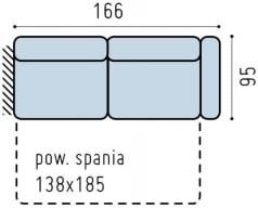 Sofa 3-osobowa prawa z funkcją spania Bono